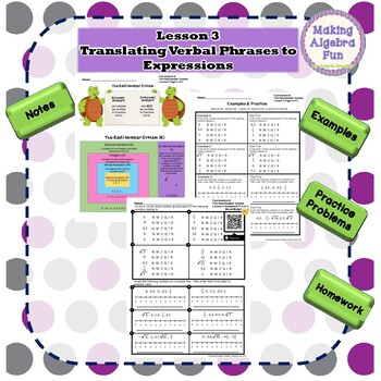 Algebra Expressions & The Real Number System Lessons Notes Homework Quiz & Test