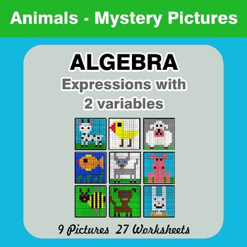 Algebra: Expressions with 2 variables - Animals Math Mystery Pictures