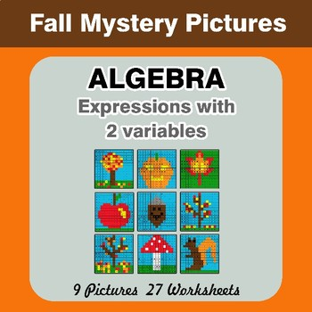 Algebra: Expressions with 2 variables - Autumn Math Mystery Pictures