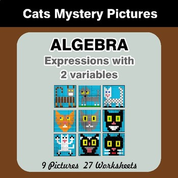 Algebra: Expressions with 2 variables - Cats Math Mystery Pictures