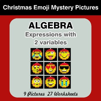 Algebra: Expressions with 2 variables - Christmas Emoji Math Mystery Pictures