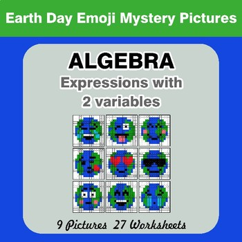 Algebra: Expressions with 2 variables - Earth Day Emoji Mystery Pictures