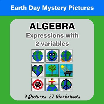 Algebra: Expressions with 2 variables - Earth Day Mystery Pictures