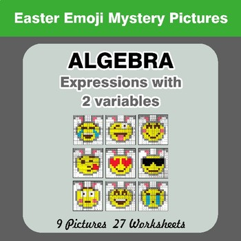 Algebra: Expressions with 2 variables - Easter Emoji Mystery Pictures