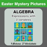 Algebra: Expressions with 2 variables - Easter Math Mystery Pictures