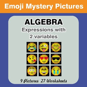 Algebra: Expressions with 2 variables - Emoji Math Mystery Pictures