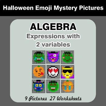 Algebra: Expressions with 2 variables - Halloween Emoji Math Mystery Pictures