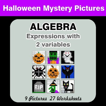 Algebra: Expressions with 2 variables - Halloween Math Mystery Pictures