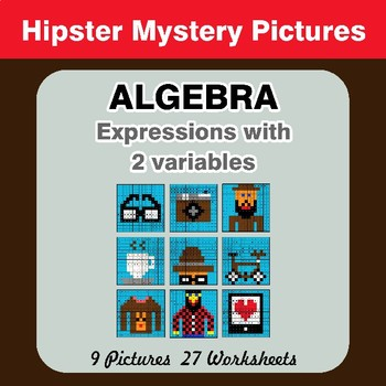 Algebra: Expressions with 2 variables - Hipsters Math Mystery Pictures