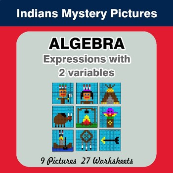 Algebra: Expressions with 2 variables - Indians Math Mystery Pictures