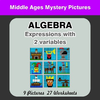 Algebra: Expressions with 2 variables - Middle Ages Math Mystery Pictures