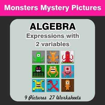 Algebra: Expressions with 2 variables - Monsters Math Mystery Pictures