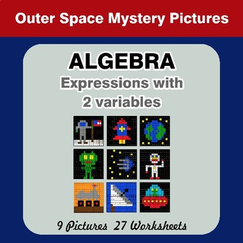 Algebra: Expressions with 2 variables - Outer Space Math Mystery Pictures