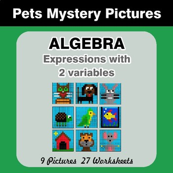 Algebra: Expressions with 2 variables - Pets Math Mystery Pictures
