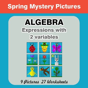 Algebra: Expressions with 2 variables - Spring Math Mystery Pictures
