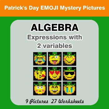 Algebra: Expressions with 2 variables - St. Patrick's Day Emoji Mystery Pictures