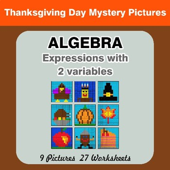 Algebra: Expressions with 2 variables - Thanksgiving Math Mystery Pictures