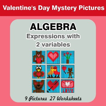 Algebra: Expressions with 2 variables - Valentine's Day Math Mystery Pictures