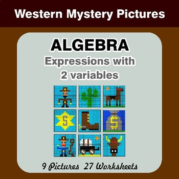 Algebra: Expressions with 2 variables - Western Math Mystery Pictures