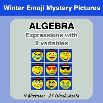 Algebra: Expressions with 2 variables - Winter Emoji Math Mystery Pictures