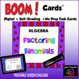Algebra Factoring Binomials with BOOM Cards