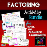 Factoring Bundle of 7  Resources Task Cards Quiz HW