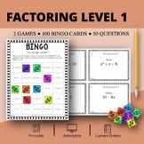 Algebra: Factoring Math Bingo Review Game