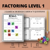 Algebra: Factoring Level 1 Math Bingo Review Game