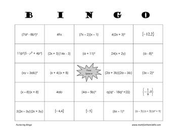 Algebra - Factoring Polynomials Bingo Review Game