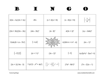 photo about Factoring Polynomials Games Printable known as Algebra - Factoring Polynomials Bingo Evaluation Match