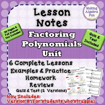 Algebra 2 Factoring Polynomials Unit Test Worksheets