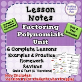 Algebra Factoring Polynomials Lesson Notes Practice Homewo