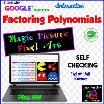 Factoring Polynomials Review Magic Picture Pixel Art with GOOGLE Sheets™