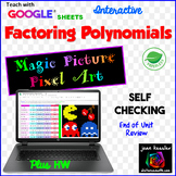 Factoring Polynomials Review Magic Picture Pixel Art with GOOGLE Sheets™ plus HW