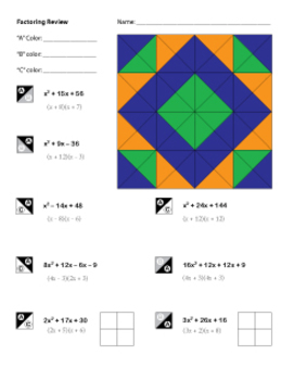 Algebra Factoring Review Coloring Worksheet by Middle School Math ...