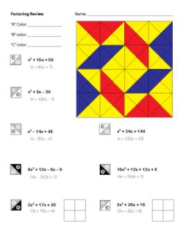 Factoring review worksheet algebra 1