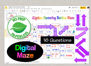 Algebra Factoring Maze with Interactive GOOGLE Slides