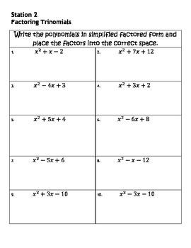 Algebra Factoring Stations