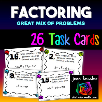 Algebra Factoring Task Cards 26 Cards Great Mix End of Unit