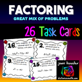 Algebra  Factoring  Task Cards  26 Cards Great Mix