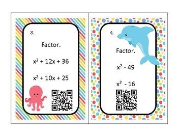 Algebra Factoring Trinomials Task Cards QR Codes