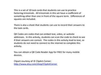 Algebra Factoring Trinomials Task Cards SET 2 QR Codes