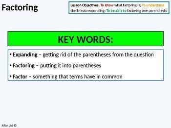 Algebra: Factoring a Single / 1 Parenthesis