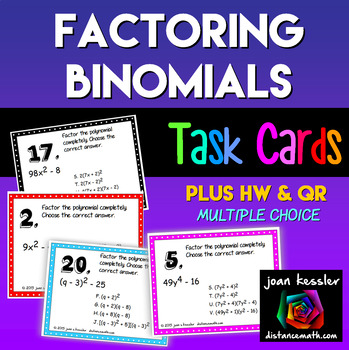 Factoring the Difference of Squares Task Cards Multiple Choice Plus HW QR