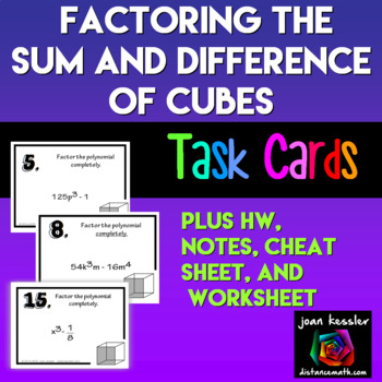 Algebra Factoring Special Binomials The Difference And Sum Of Cubes