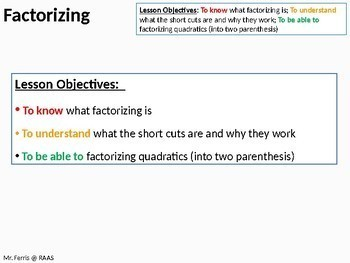 Algebra: Factorizing Double Parenthesis / Quadratics (ideal for grades 6 - 11)