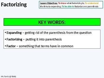 Algebra: Factorizing Single Parenthesis (ideal for grades 6 - 10)