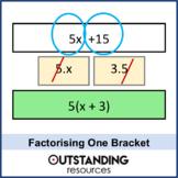 Algebra: Factorising a Single / 1 Bracket