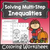 Thanksgiving Algebra 1 and 2 Worksheet {Autumn Algebra I Solving Inequalities}