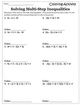 Solving Inequalities Coloring Activity